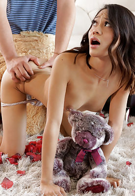 Jasmine Grey accidentally walks in on her stepbros Valentines setup and rides his hardon as he wears a bear costume
