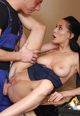 Brunette plays with her sweet pussy